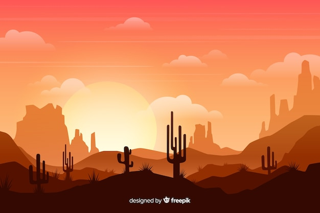 Desert with bright sun and tall cactuses Free Vector