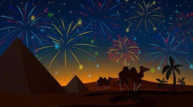 Desert with celebration fireworks Free Vector