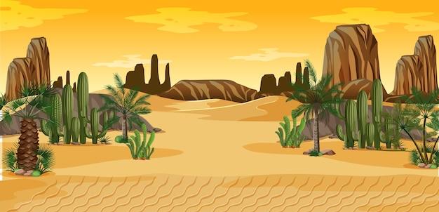 ヤシとサボテンの自然の風景のシーンと砂漠 無料ベクター