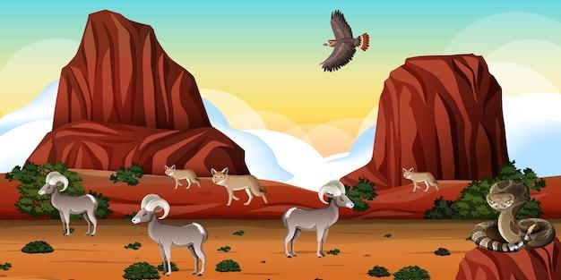 ロッキー山脈と砂漠の動物の風景と日中の風景 無料ベクター