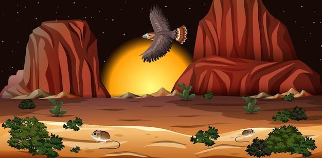 夜のシーンでロッキー山脈の風景と砂漠 無料ベクター