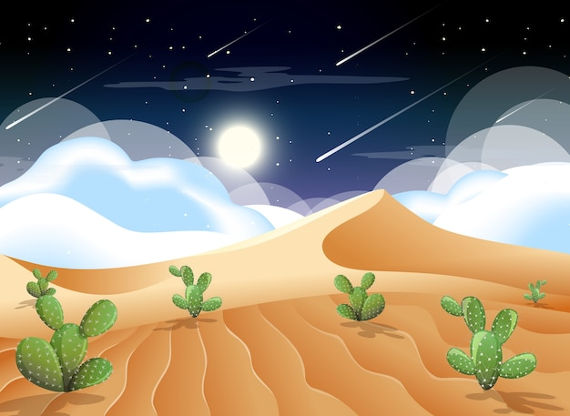 Desert with sand mountains and cactus landscape at night scene Free Vector