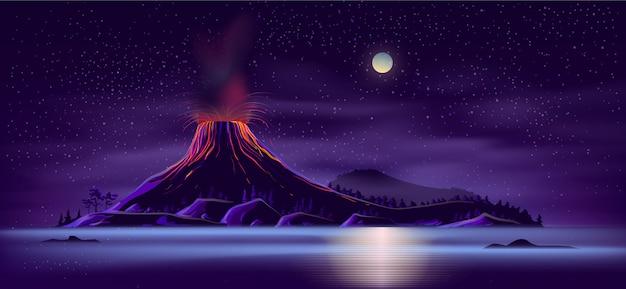Deserted island with active volcano cartoon Free Vector