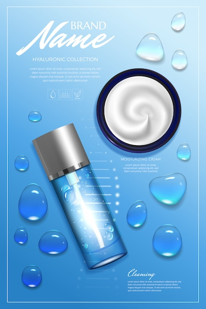 Design advertising for cosmetic. moisturizing cream, gel, body lotion with vitamins. Premium Vector