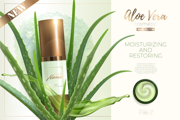 Design advertising for cosmetic product. moisturizing cream, gel, body lotion with aloe vera extract . Premium Vector