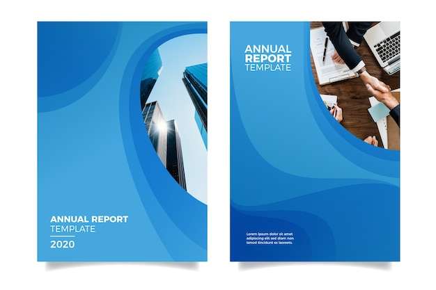 Design annual report with buildings Free Vector