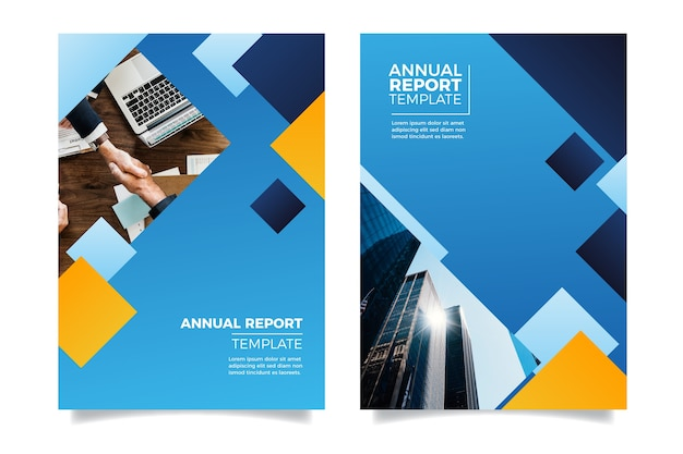 Design annual report with people shaking hands Free Vector