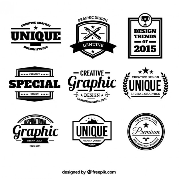work badges template - design badges in retro style vector free download