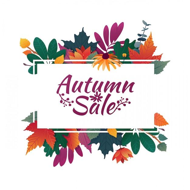 Дизайн баннера с логотипом осенней распродажи. дисконтная карта на осенний сезон с белой рамкой и травами Premium векторы