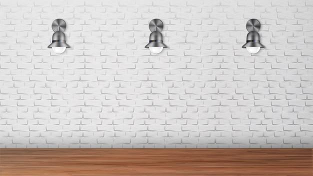 Design black sconces on white brick wall Premium Vector