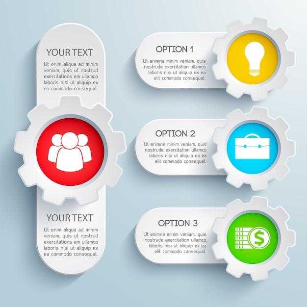 カラフルなアイコンと分離されたテキストフィールドで設定されたデザインビジネスインフォグラフィック 無料ベクター