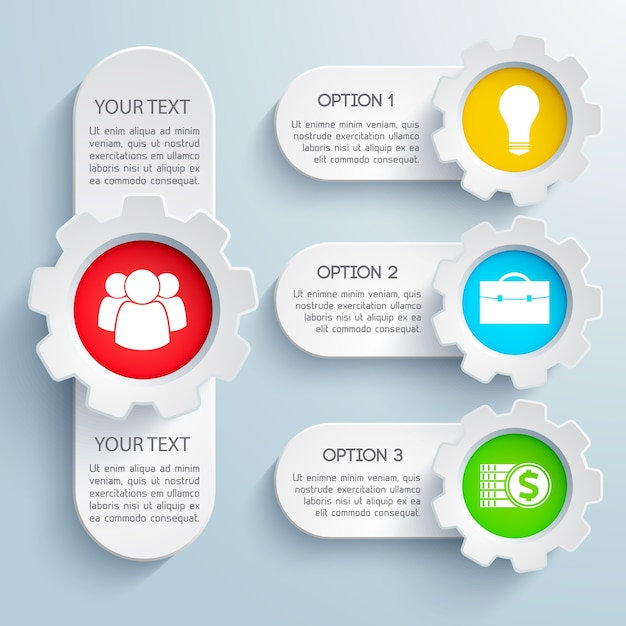 Design business infographic set with colorful icons and text field isolated Free Vector