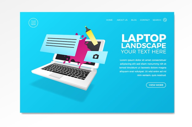 Design for business landing page with laptop Free Vector
