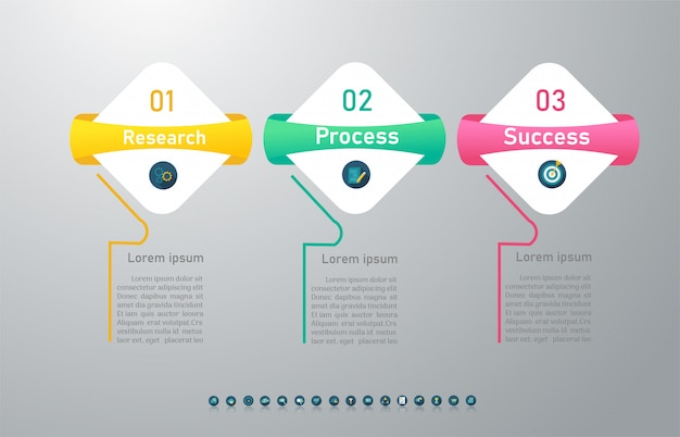 Design business template 3 options infographic chart element. Premium Vector