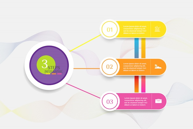 Design business template 3 options or steps infographic chart element. Premium Vector