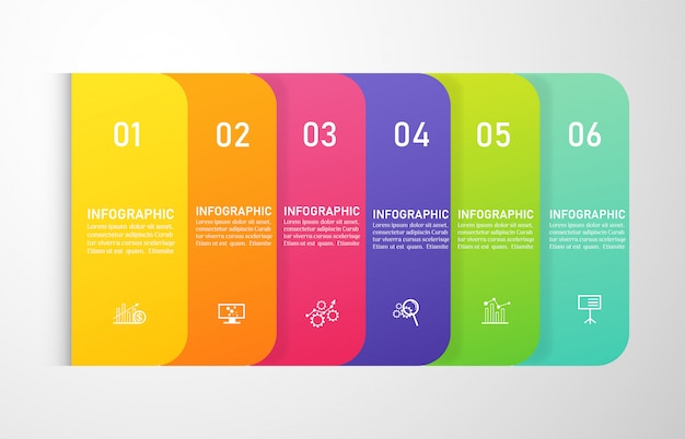 Design business template 6 options infographic for presentations. Premium Vector