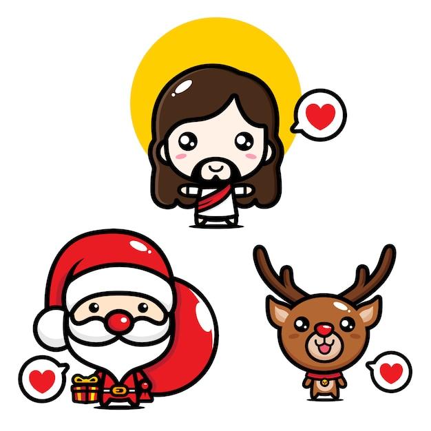 Design cartoon jesus, santa, and deer Premium Vector