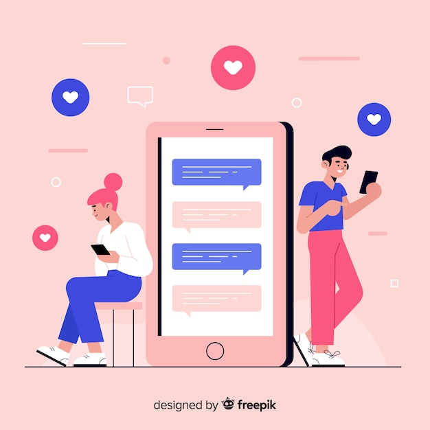 Design of chatting with people in smartphones Free Vector