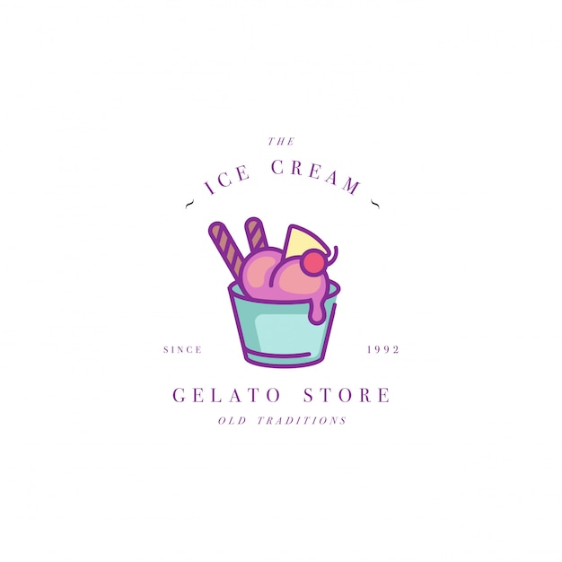 Design colorful template logo or emblem - ice cream, gelato. ice cream icon. logo in trendy linear style isolated on white background. Premium Vector