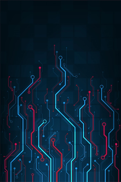 Design in the concept of electronic circuit boards. Premium Vector