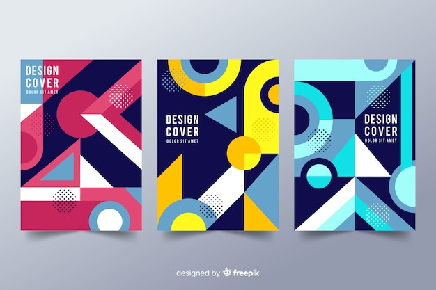 Design cover templates with geometric shapes Free Vector