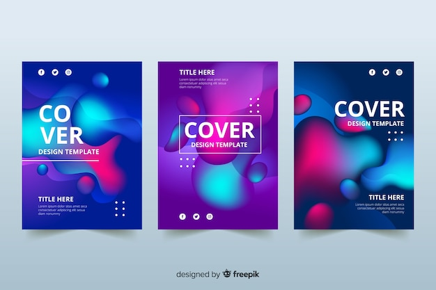 Design covers with colorful liquid effect Free Vector