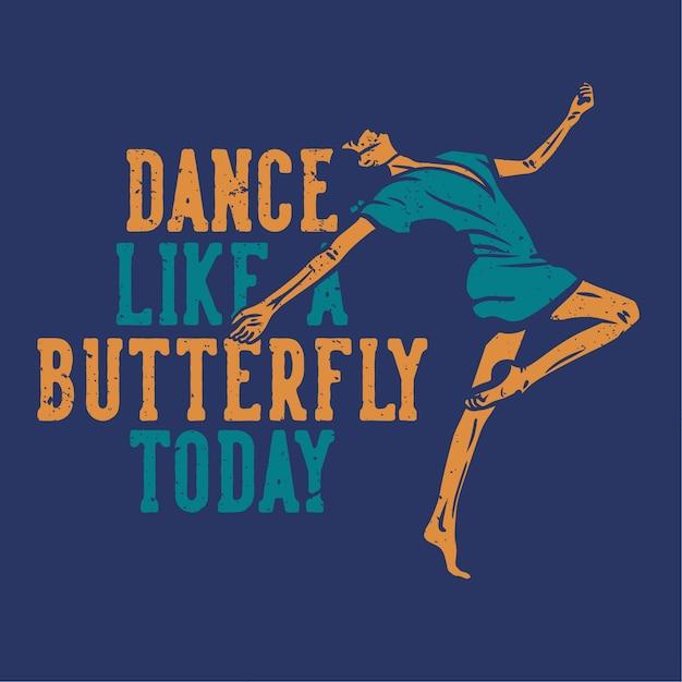 Дизайн танец как бабочка с женщиной танцует плоский рисунок Premium векторы