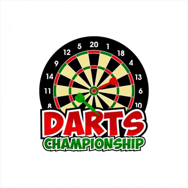 Design darts championship logo Premium Vector