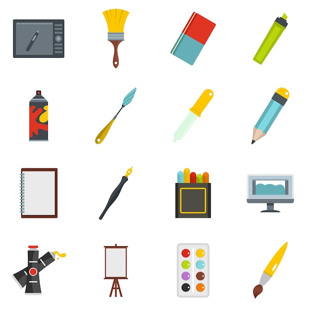 Design and drawing tools icons set in flat style Premium Vector