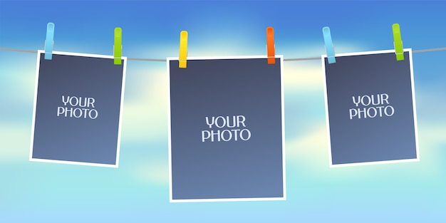 Design element of sky on background and empty frames for photo or pictures Premium Vector