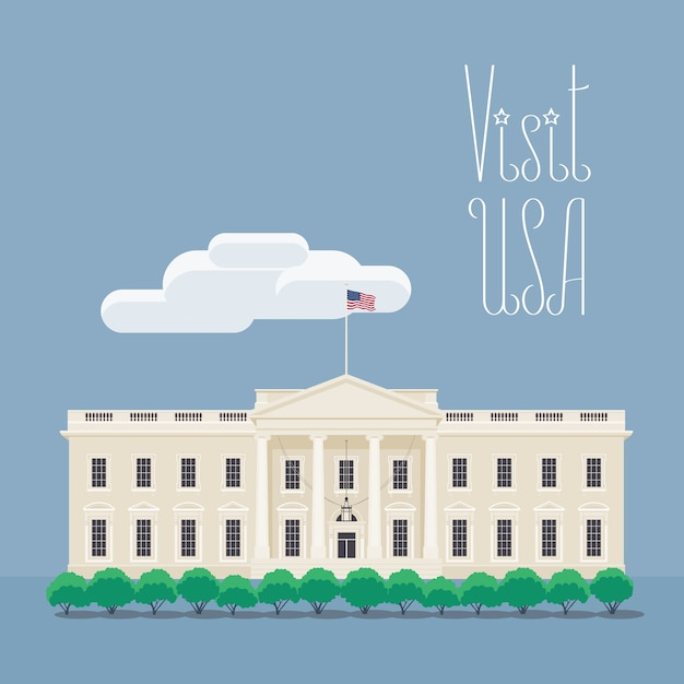 Design element with american president's house for travel to america concept Premium Vector