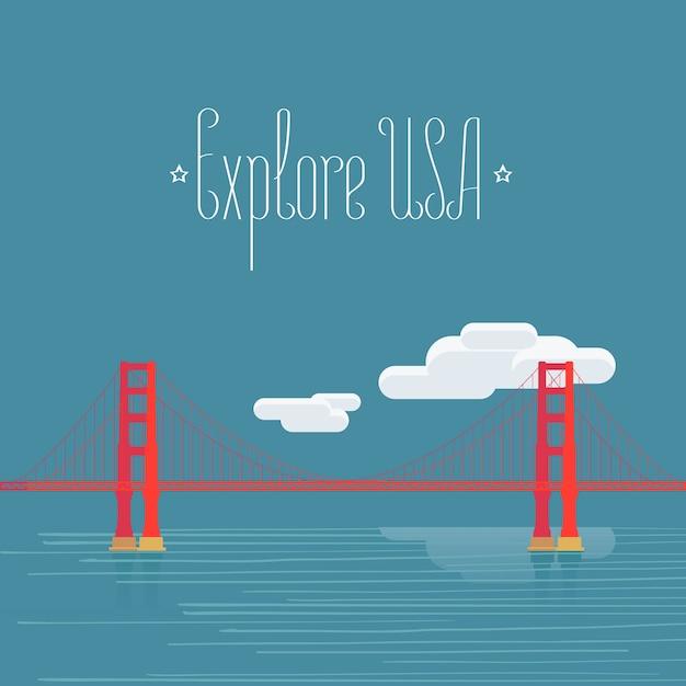 アメリカのコンセプトへの旅行のための有名なアメリカのランドマークゴールデンゲートのデザイン要素 Premiumベクター