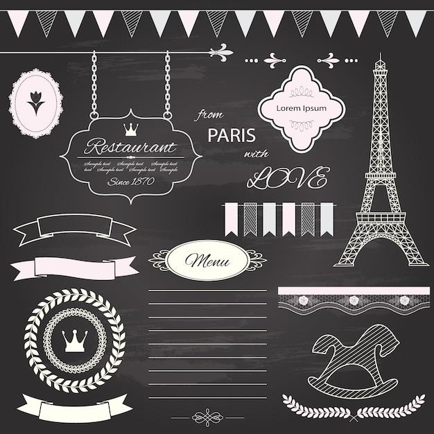 Design elements set on chalkboard background. Premium Vector