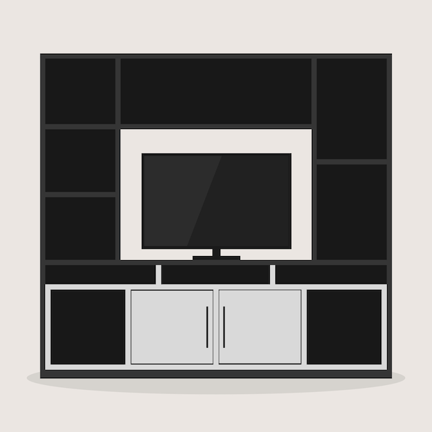 Design of entertainment room furniture with a tv Premium Vector