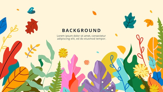 Design of floral banner, autumn theme, gold and red leaves, autumn flowers and berries. Premium Vector
