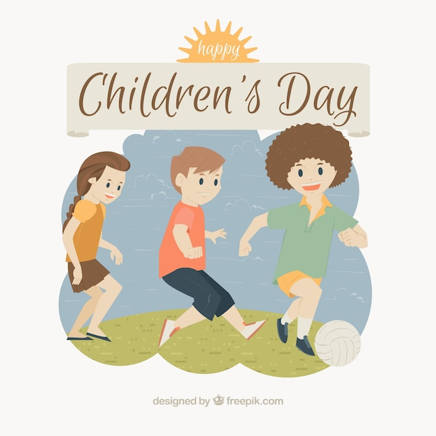 Design for childrens day with kids playing football