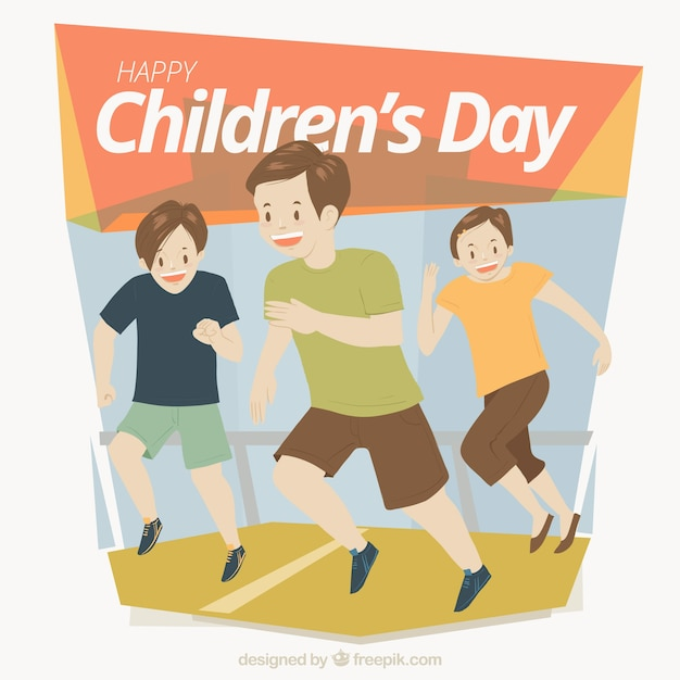 Design for childrens day with running kids
