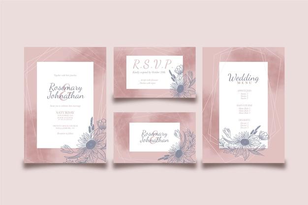 結婚式のメニューと招待状のデザイン 無料ベクター