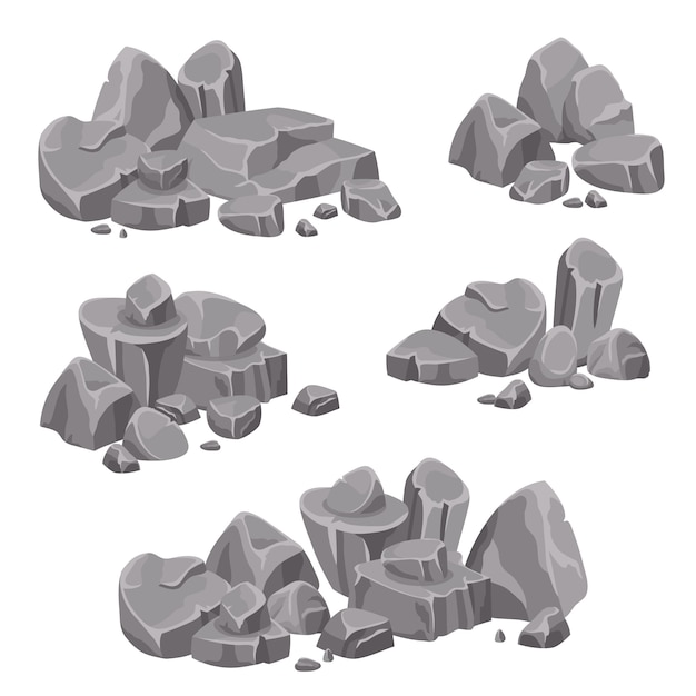 Design groups of rocks and stones boulders Free Vector