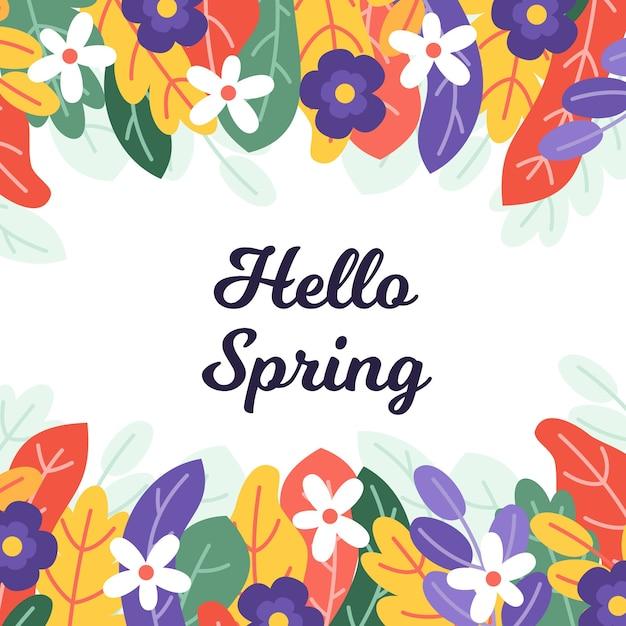 Design of hello spring Free Vector