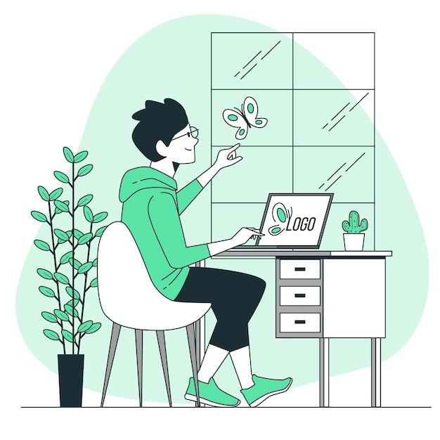 Illustrazione di concetto di ispirazione di design Vettore gratuito