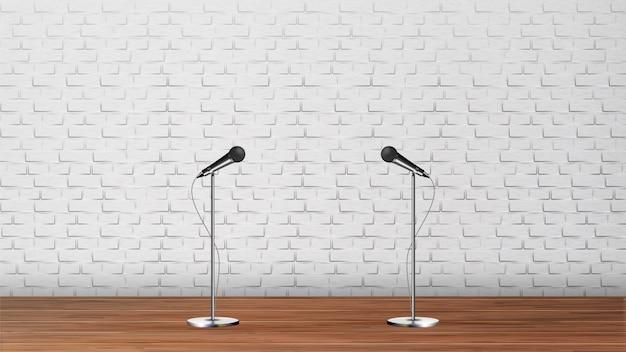 Design interior of podium karaoke club Premium Vector