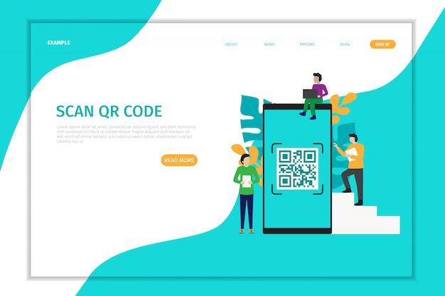 Design landing page qr code scanning vector Premium Vector