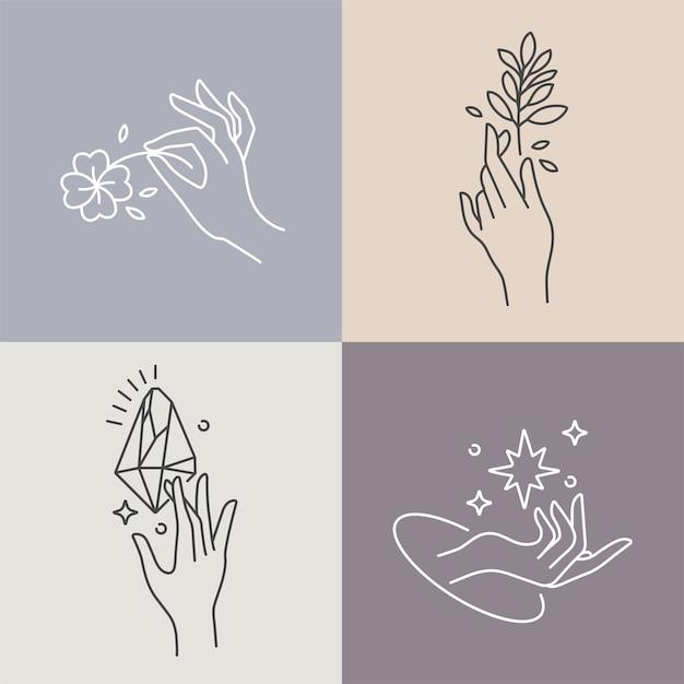 Дизайн линейных шаблонов логотипов или эмблем руками в разных жестах Premium векторы