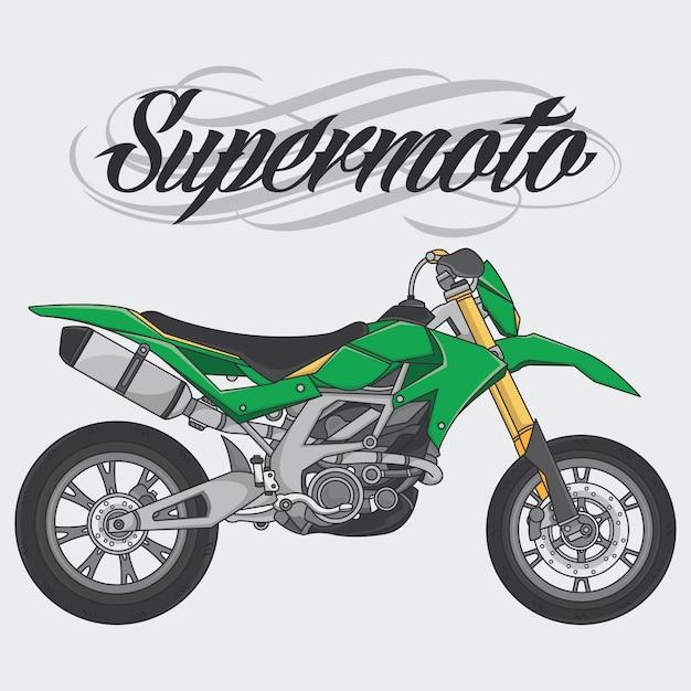Design logo supermoto rider ride a supermoto bike Premium Vector