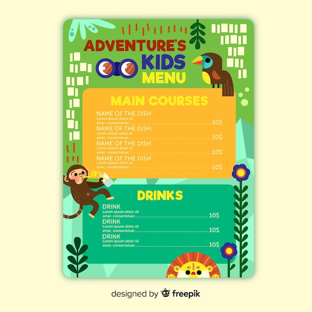 Design Of Menu Template For Children Restaurant Vector Free Download