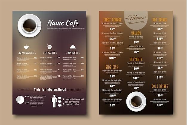 Design menus for a restaurant, cafe or coffeehouse a4. Premium Vector