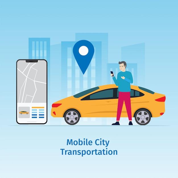 Design mobile city vector illustration concept Premium Vector