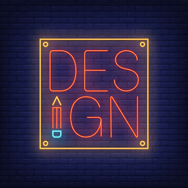 Design neon lettering on tablet. advertisement. Free Vector