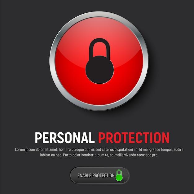 Дизайн чёрного веб-баннера с красной круглой кнопкой и значком навесного закрытого замка. Premium векторы